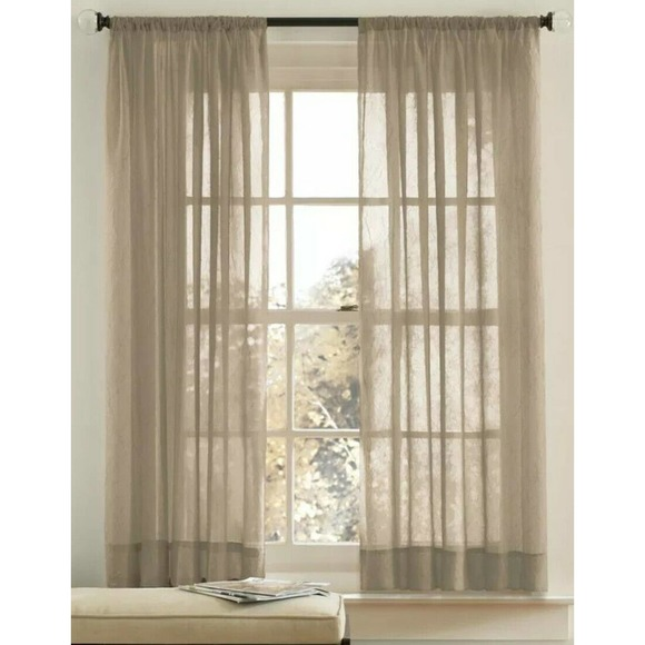 """2 x Crushed Voile Sheer Curtain, Clay Beige, 63"""""""